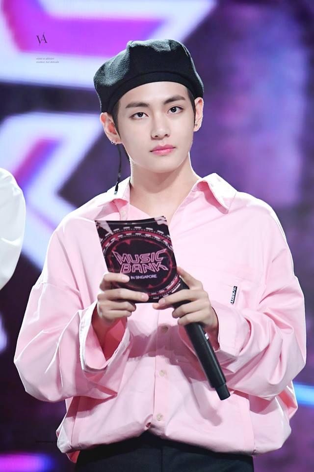 Tags: K-Pop, BTS, V (Kim Taehyung), Black Headwear, Serious, Pink Shirt, Stage