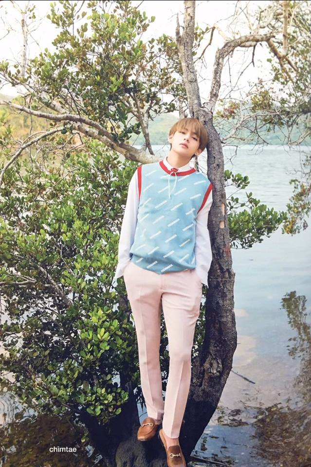 Tags: K-Pop, BTS, V (Kim Taehyung), Sea, Black Eyes, Outdoors, Plant, Blue Outerwear, Water, Pink Pants, Hand In Pocket, Serious