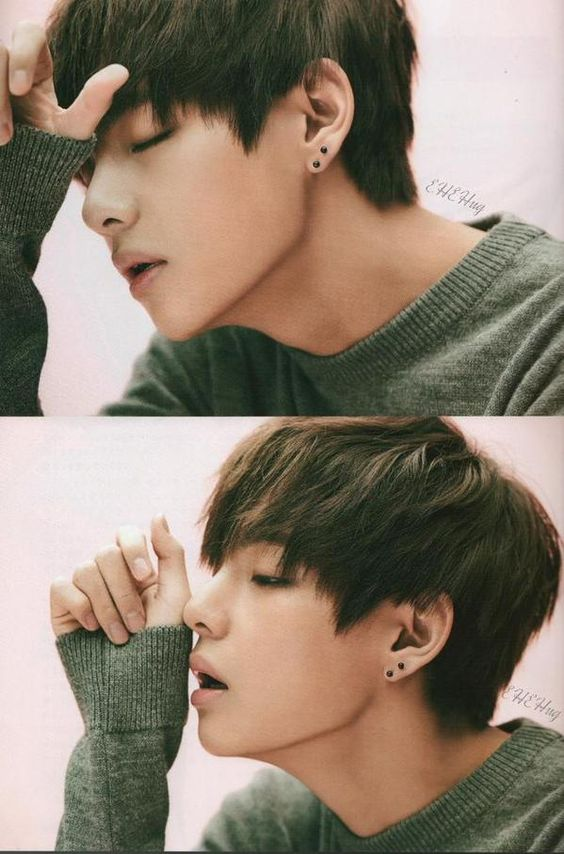 Tags: K-Pop, BTS, V (Kim Taehyung), Pink Background, Sweater, Side View, Eyes Closed, Green Shirt, Collage