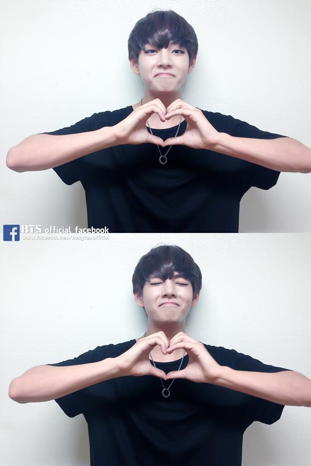 Tags: K-Pop, BTS, V (Kim Taehyung), Heart Gesture, Black Eyes, Necklace, Eyes Closed