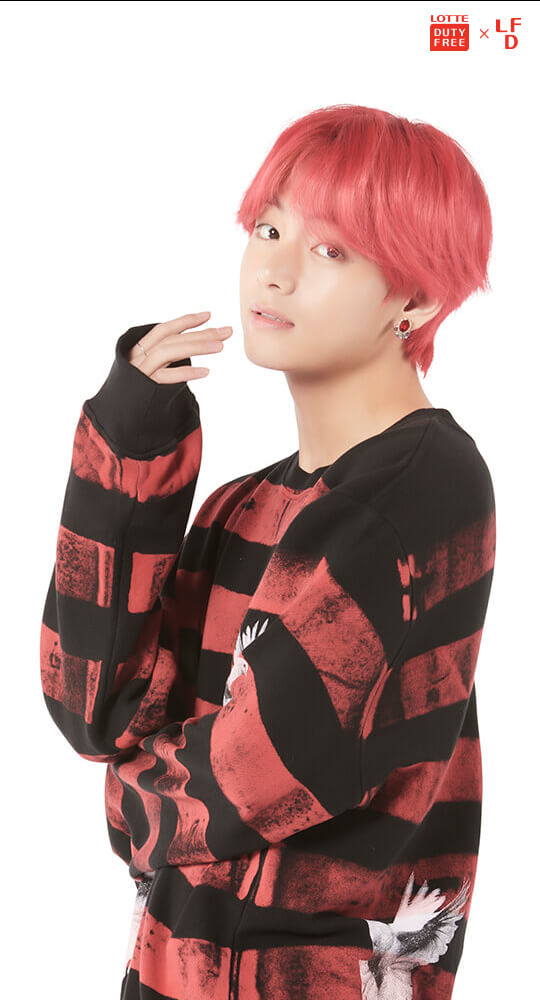 Tags: K-Pop, BTS, V (Kim Taehyung), English Text, Text: Magazine Name, Light Background, Logo, White Background, Red Hair, Scan, Lotte Duty Free, Android/iPhone Wallpaper