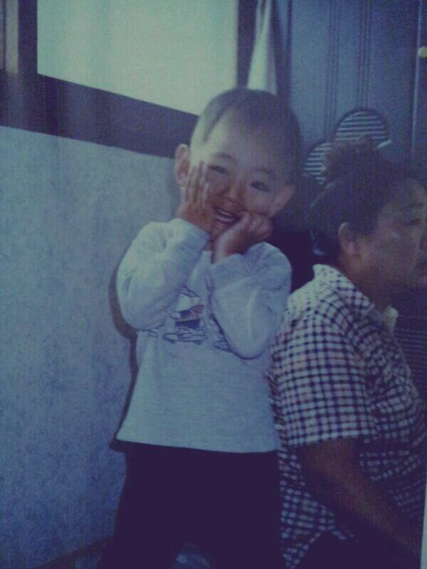 Tags: K-Pop, Bangtan Boys, V (Kim Taehyung), Child, Grin, Black Eyes, Bald, Predebut
