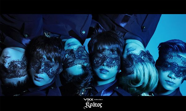Tags: K-Pop, VIXX, Ken, Hongbin, Leo, Ravi, N (singer), Hyuk, Blue Background, Text: Album Name, Laying Down, Blindfold