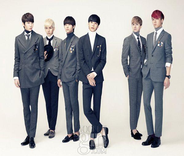 Tags: K-Pop, VIXX, Ravi, N (singer), Hyuk, Ken, Hongbin, Leo, Red Hair, Crossed Legs (Standing), Full Group, Suit