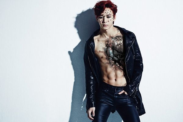 Tags: K-Pop, VIXX, Hongbin, Leather Pants, Hand In Pocket, Shirtless (Male), Black Jacket, Tattoo, Hair Up, Blue Pants, Light Background, Leather Jacket