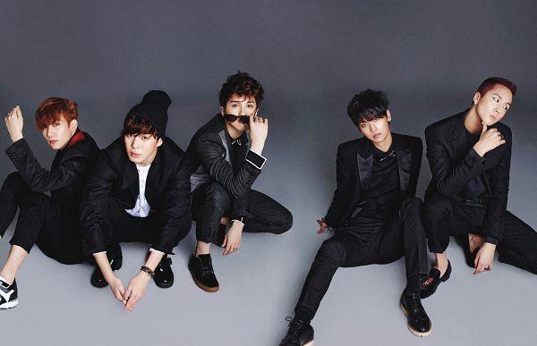 Tags: K-Pop, VIXX, Hongbin, N (singer), Ravi, Hyuk, Ken, Sitting On Ground, Gray Background, Black Jacket, Black Outerwear, Covering Mouth