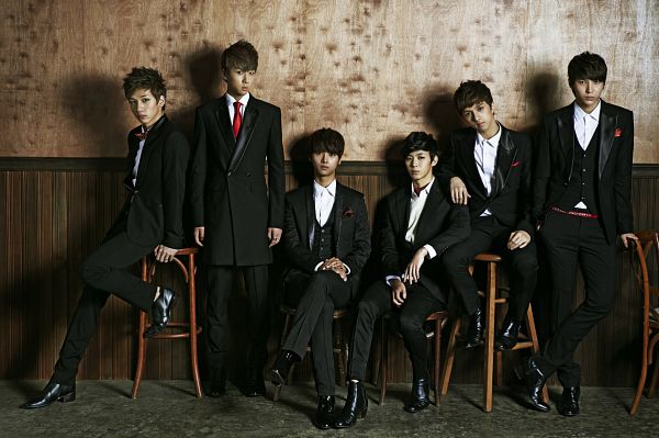 Tags: K-Pop, VIXX, Hongbin, Leo, Ravi, N (singer), Hyuk, Ken, Hand On Leg, Sitting On Chair, Black Jacket, Black Outerwear