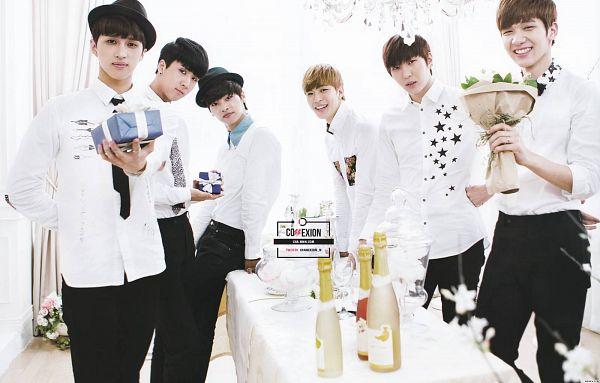 Tags: K-Pop, VIXX, Leo, Ravi, N (singer), Hyuk, Ken, Hongbin, Flower, White Background, Bouquet, Black Pants