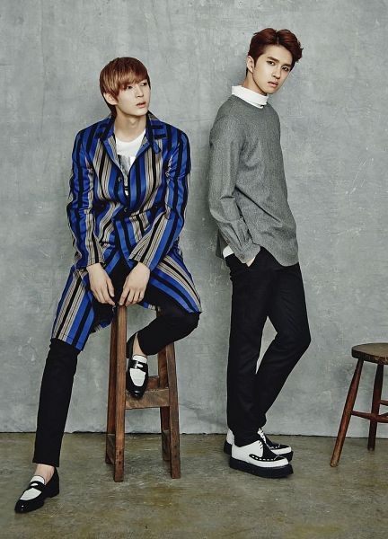 Tags: K-Pop, VIXX, Leo, Ken, Gray Background, Full Body, Sitting On Chair, Two Males, Hand In Pocket, Chair, Duo, Marie Claire