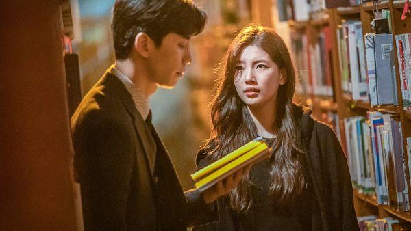 Tags: K-Drama, Bae Suzy, Shin Sung-rok, Bookshelf, Black Jacket, Reading, Looking At Another, Book, Tie, Duo, Vagabond