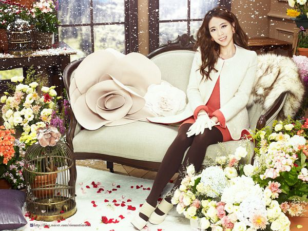 Tags: K-Pop, Miss A, Wang Feifei, Couch, Red Dress, Gloves, White Jacket, Petals, Flower, White Outfit, Brown Legwear, Red Outfit