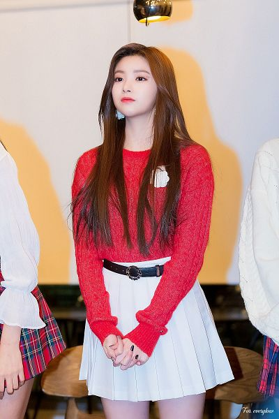 Tags: K-Pop, Everglow, Wang Yiren, Nail Polish, Light Background, Clasped Hands, White Skirt, White Background, Pleated Skirt, Red Shirt, Belt, Bare Legs