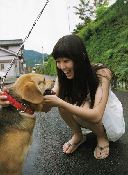 Tags: J-Pop, AKB48, NMB48, Watanabe Miyuki, White Outfit, Bare Shoulders, Road, Animal, Laughing, Blunt Bangs, Bare Legs, White Dress