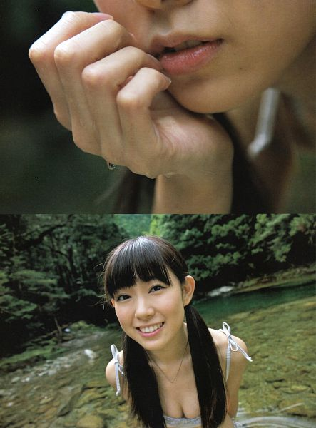 Tags: J-Pop, AKB48, NMB48, Watanabe Miyuki, Collage, Water, Suggestive, Cleavage, Necklace, Hand On Head, Close Up, Twin Tails