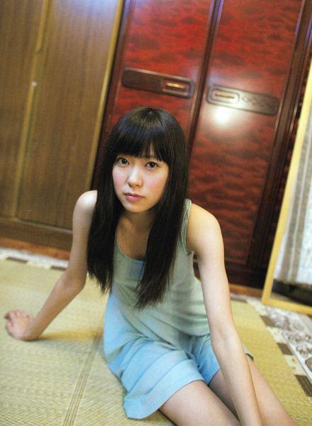 Tags: J-Pop, AKB48, NMB48, Watanabe Miyuki, Bare Legs, Sleeveless Dress, Sitting On Ground, Blue Dress, Blunt Bangs, Bare Shoulders, Blue Outfit, Sleeveless