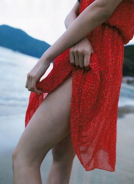 Tags: J-Pop, NMB48, AKB48, Watanabe Miyuki, Red Outfit, Close Up, Face Cut Off, Beach, Bare Legs, Sand, Red Dress, Scan