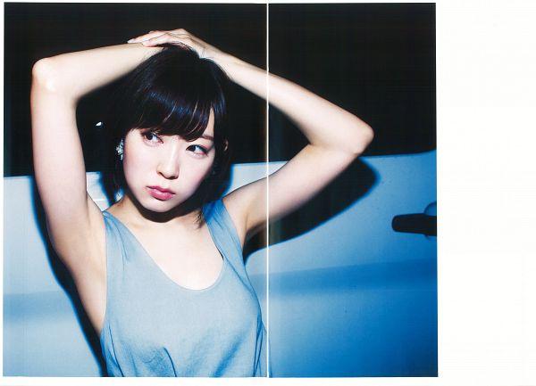 Tags: J-Pop, NMB48, AKB48, Watanabe Miyuki, Arms Up, Sleeveless Shirt, Blue Shirt, Bare Shoulders, Looking Away, Sleeveless, Hand On Head, Night