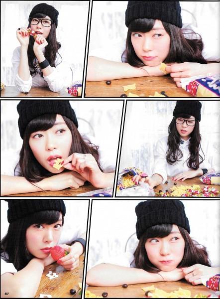 Tags: J-Pop, NMB48, Watanabe Miyuki, Bracelet, Light Background, Food, Panels, White Background, Fruits, Wavy Hair, Glasses, Collage