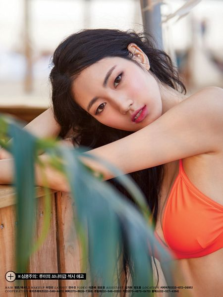 Tags: K-Pop, H.U.B, Watanabe Rui, Cleavage, Bare Shoulders, Midriff, Head Tilt, Hand In Hair, Korean Text, Bikini, Suggestive, Swimsuit