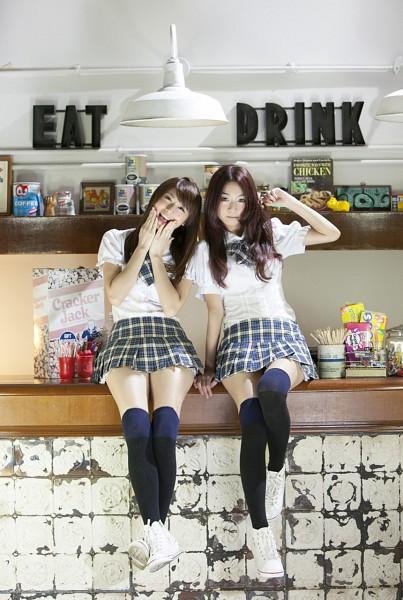 Tags: Weather Girls, Yumi, Nuenue, Black Legwear, School Uniform, Thigh Highs