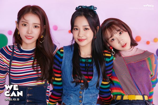 Tags: K-Pop, Weeekly, Shin Jiyoon, Monday, Jihan, Hair Ornament, Trio, Text: Album Name, Hair Bow, Black Headwear, Head On Shoulder, Bow
