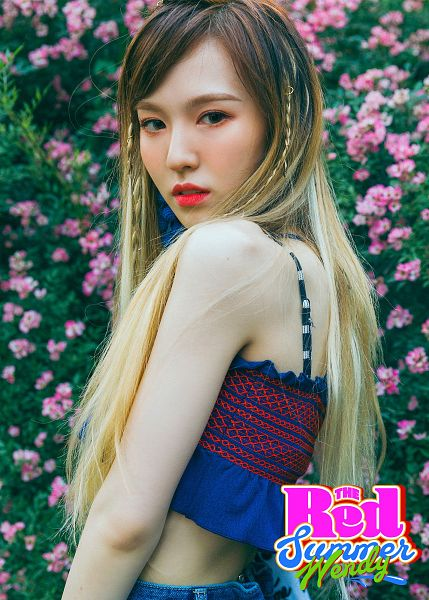 Tags: K-Pop, Red Velvet, SM Town, Wendy, Midriff, Contact Lenses, Flower, Red Lips, Multi-colored Hair, Text: Artist Name, Blonde Hair, Text: Album Name
