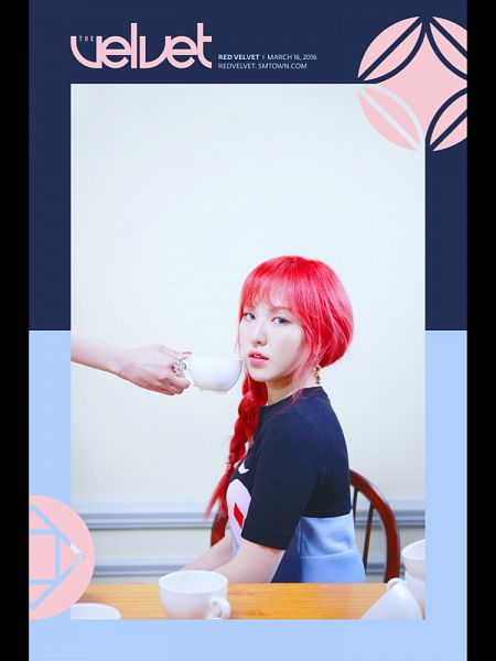 Tags: SM Town, K-Pop, Red Velvet, Wendy, Red Hair, Braids, Text: Calendar Date, Text: Artist Name, Text: Album Name, The Velvet