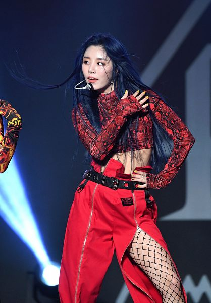 Tags: K-Pop, Mamamoo, Wheein, Midriff, Belt, Pantyhose, Fishnets, Bare Legs, Black Background, Blue Hair, Hand On Chest, Red Shirt
