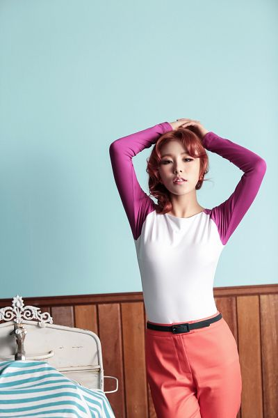 Tags: K-Pop, Mamamoo, Ahh Oop!, Wheein, Eyes Half Closed, Red Hair, Red Pants, Arms Up, Medium Hair, Android/iPhone Wallpaper