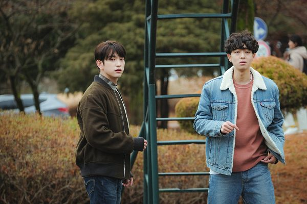Tags: K-Pop, K-Drama, Got7, Park Jinyoung (Junior), Eun Hae-sung, Stairs, Tree, Brown Outerwear, Denim Jacket, Jeans, Two Males, Serious