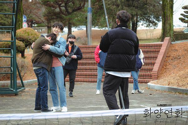 Tags: K-Drama, K-Pop, Got7, Eun Hae-sung, Park Jinyoung (Junior), Hug, Text: Series Name, Jeans, Brown Outerwear, Korean Text, Denim Jacket, Holding Close