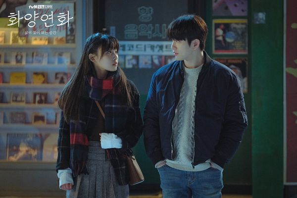 Tags: K-Drama, K-Pop, Got7, Park Jinyoung (Junior), Jeon Sonee, Korean Text, Hand In Pocket, Scarf, Text: Series Name, Jeans, Duo, Skirt