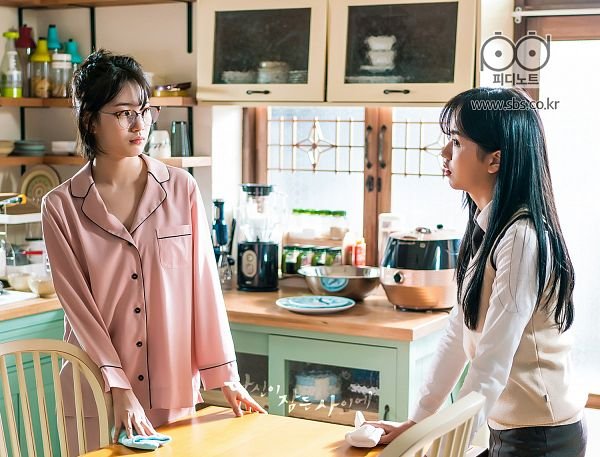 Tags: JYP Entertainment, K-Pop, K-Drama, Kim So-hyun, Bae Suzy, Nightwear, Chair, Kitchen, Two Girls, Table, Duo, While You Were Sleeping