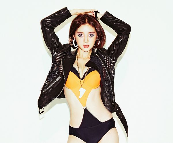 Tags: K-Pop, Wonder Girls, Woo Hyelim, Bracelet, Light Background, Suggestive, Arms Up, White Background, Necklace, Swimsuit, Cleavage, Leather Jacket