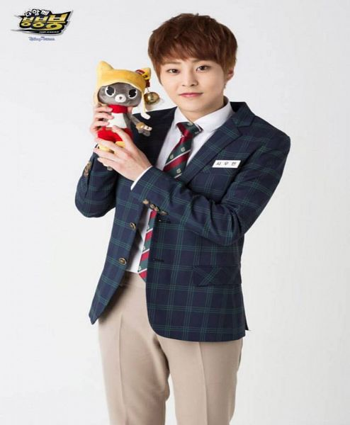 Tags: K-Pop, EXO, Xiumin, Checkered Jacket, Gray Background, Stuffed Toy, Tie, Stuffed Animal, Red Neckwear, Brown Pants, Striped Neckwear, Striped