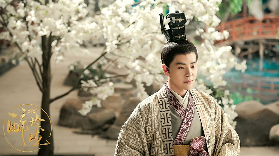 Tags: C-Drama, Xu Haiqiao, Flower, Hair Ornament, Chinese Text, Chinese Clothes, White Flower, Traditional Clothes, Serious, Tree, Rocks, Plant