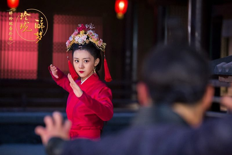 Tags: C-Drama, Xu Muchan, Chinese Text, Red Lips, Fight Stance, Red Dress, Chinese Clothes, Night, Dress, Red Outfit, Hair Ornament, Traditional Clothes