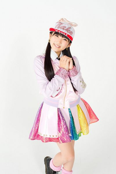 Tags: J-Pop, HKT48, AKB48, Yabuki Nako, Twin Tails, Pink Jacket, Light Background, Pink Outerwear, Skirt, Black Footwear, White Background, White Headwear