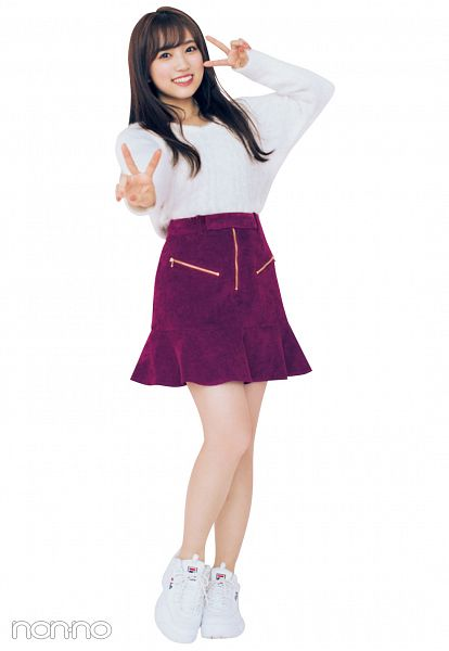 Tags: K-Pop, IZ*ONE, Yabuki Nako, V Gesture, Purple Skirt, Skirt, Light Background, White Background, Grin, Non-no, Magazine Scan