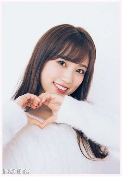 Tags: K-Pop, IZ*ONE, Yabuki Nako, White Background, Sweater, Grin, Black Eyes, Heart Gesture, Light Background, Non-no, Magazine Scan