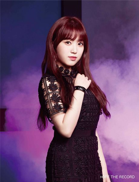 Tags: K-Pop, J-Pop, IZ*ONE, HKT48, Yabuki Nako, Black Outfit, Black Dress, Red Hair, Make Up, Bracelet