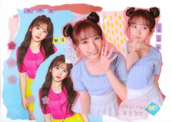 Tags: K-Pop, J-Pop, IZ*ONE, HKT48, Yabuki Nako, Hair Buns, Twin Buns, Pink Shirt, Hair Up, Head Tilt, Short Sleeves, English Text