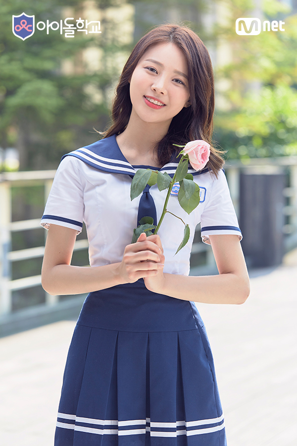 Tags: K-Pop, Television Show, Bloomy, Yang Yeon-ji, Medium Hair, Blue Neckwear, Pink Flower, School Uniform, Head Tilt, Short Sleeves, Tie, Blue Skirt