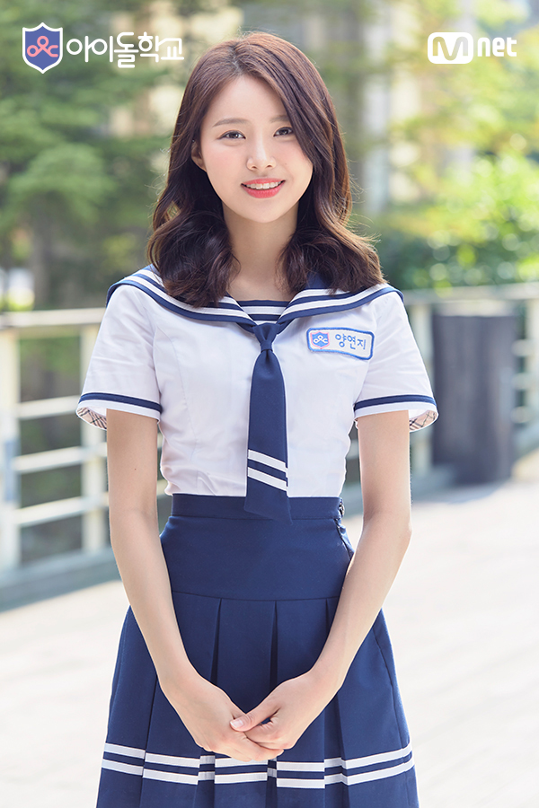 Tags: Television Show, K-Pop, Bloomy, Yang Yeon-ji, Collar (Clothes), School Uniform, Sailor Collar, Short Sleeves, Tie, Skirt, Blue Neckwear, Grin