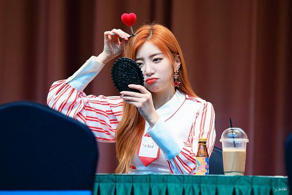 Tags: K-Pop, Laboum, Yeom Haein, Holding Object, Striped Dress, Red Hair, Make Up, Straw, White Dress, Striped, Tie, Black Eyes