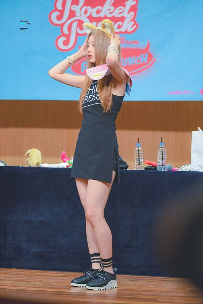 Tags: K-Pop, Rocket Punch, Yeonhee, Black Footwear, Stuffed Toy, Black Outfit, Animal Ears, Shorts, Black Shorts, Brown Headwear, Black Dress, Bare Legs