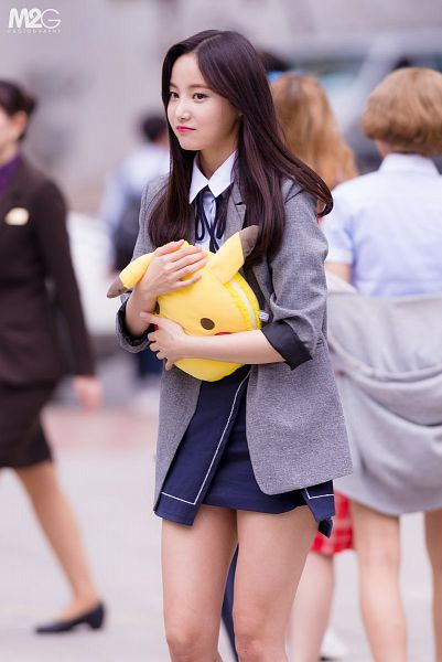 Tags: K-Pop, Momoland, Yeonwoo, Closed Mouth, Toy, Bare Legs, Black Skirt, Black Neckwear, Jacket, Stuffed Toy, Gray Jacket, Skirt