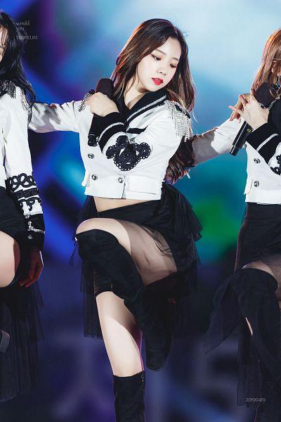 Tags: K-Pop, Cosmic Girls, Yeoreum (Cosmic Girls), Text: Calendar Date, High Heels, Black Footwear, Midriff, Text: Artist Name, Knee Boots, Eyes Half Closed, Black Skirt, Bare Legs