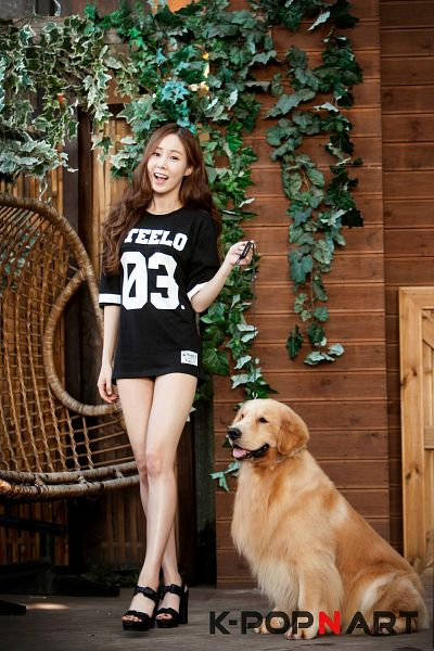 Tags: K-Pop, 4L, Yeseul, Dog, High Heels, Bare Legs, Black Footwear, Crossed Legs (Standing), Black Shorts, Shorts, Magazine Scan, Android/iPhone Wallpaper