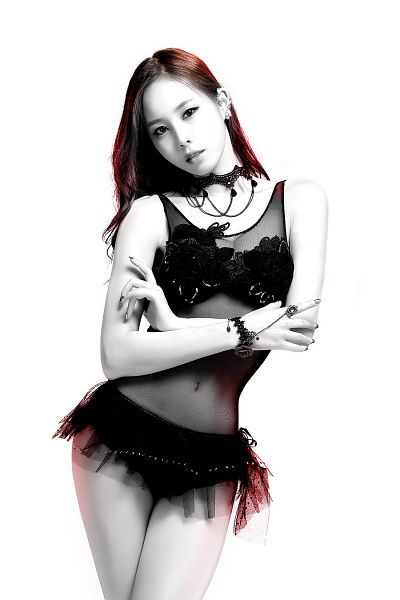 Tags: K-Pop, 4L, Yeseul, Panties, Black Outfit, Serious, Necklace, Light Background, Bare Legs, Bracelet, Black Eyes, White Background